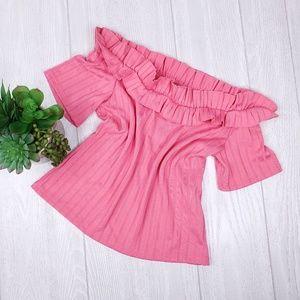 Zara Trafaluc Off Shoulder Short Sleeve Knit Top S